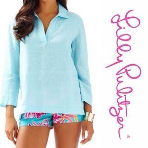 Lily Pulitzer Gasparilla Linen Tunic Boardwalk Blu